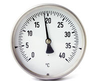 Temperature gauge. Isolate on white Stock Images