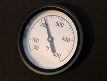 Temperature gauge. A temperature gauge showing 200+ fahrenheit stock image