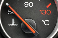 Temperature gauge. In car dashboard - cold Stock Image