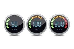 Temperature gauge digital set. Vector icon. Royalty Free Stock Photo
