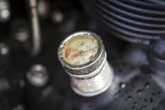 Temperature gauge indicator on a black motor engine Royalty Free Stock Photos