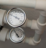 Temperature gauge mounted on the heating pipes.  Stock Image
