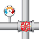 Temperature gauge with pipe and valve Stock Image