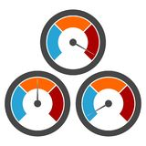 Temperature gauge,Pressure gauge, manometer icons set. Vector icon Royalty Free Stock Images