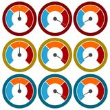 Temperature gauge,Pressure gauge, manometer icons set Stock Photography