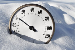 Temperature Gauge in the Snow Stock Image