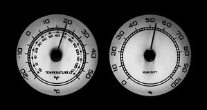 Temperature and Humidity Dials. Thermometer and Barometer dials on black background Stock Photography