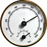 Analogue gauge. Analogue thermometer and humidity gauge from a camera drybox stock photography