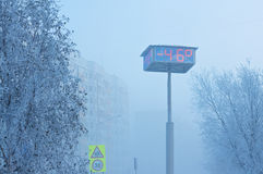 Temperature indicators on city board. Abnormally low air temperature,-46 degrees. Russia, Western Siberia stock images