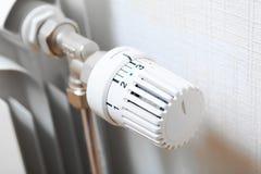 Temperature knob of heating radiator. Closeup view Royalty Free Stock Photos