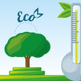 Temperature measurement in the ecosystem. Vector illustration Royalty Free Stock Photography