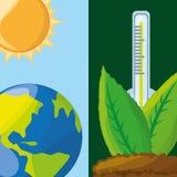Temperature measurement in the ecosystem. Vector illustration Stock Photo