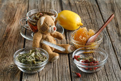 Temperature measurement with toy bear Royalty Free Stock Photography