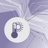 Temperature, Medicine thermometer, Weather climate icon on purple abstract modern background. The lines in all directions. With ro. Om for your advertising royalty free illustration
