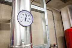 Temperature meter of water pipes. Temperature gauge in order to measure the temperature of the heating royalty free stock photography