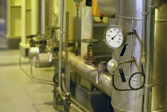 Temperature and pressure control device. On a plant Stock Photos
