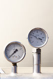 Temperature and pressure gauge. On a tanker Stock Images