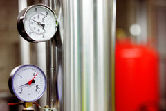 Temperature and pressure gauges stock images