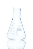 Temperature resistant conical flask for measurements 250 ml. On white Stock Images