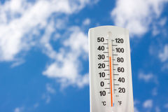 Temperature's rising. A thermometer shows a high 80's against this blue cloudscape Royalty Free Stock Images