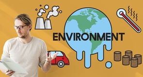 Temperature Save Earth Pollution Planet Environment Climate Chan Stock Image