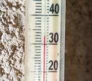 The temperature on the thermometer 30 Royalty Free Stock Image