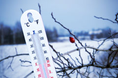 Temperature in winter stock image