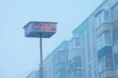 Temperaturindikatoren auf Stadtbrett Stockbild