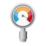 Temperaturmessgerät benutzt, wenn Grill gekocht wird stock abbildung