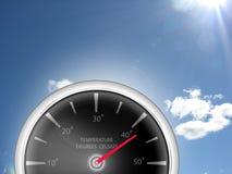 Temperaturowy wymiernika termometr pokazuje Celsius stopnie dla Heatwave pogody ilustracji