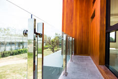 Tempered glass. Home modern style aluminum rail and tempered glass Royalty Free Stock Photos