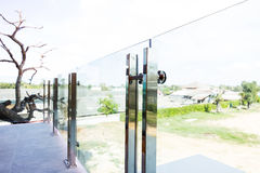 Tempered glass. Home modern style aluminum rail and tempered glass Stock Photo