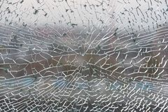 Tempered and laminated glass. Cracked tempered glass. cracks have created a regular decor, Glass tempered and laminated Stock Photos