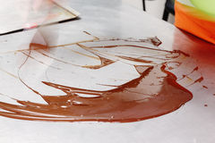 Tempering of the chocolate Stock Image