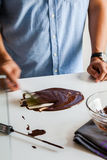 Tempering Chocolate Step 4/7 Royalty Free Stock Photography