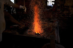 Tempering in the forge Royalty Free Stock Photo