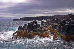 Tempest and coast. The coast of the Pico island in the Azores archipelago. Portugal stock image