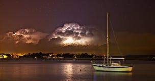 Tempesta del lampo alla notte Fotografie Stock