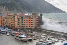 Tempesta del mare in Camogli Fotografia Stock Libera da Diritti