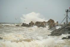 Tempesta del molo fotografie stock