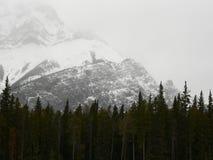 Tempesta della neve della montagna della cascata Fotografie Stock