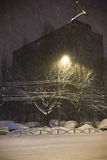 Tempesta della neve nella città Immagini Stock Libere da Diritti