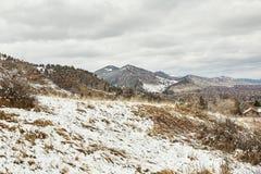 Tempesta della neve della primavera nel parco di Chautauqua fotografia stock libera da diritti