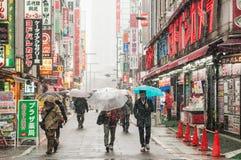 Tempesta della neve in Shinjuku, Tokyo Fotografia Stock