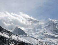 Tempesta della neve sopra il ghiacciaio di Eiger Fotografia Stock