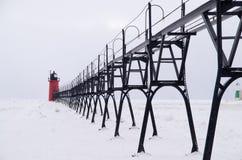 Tempesta della neve sopra il pilastro del sud del porto del sud Fotografia Stock Libera da Diritti
