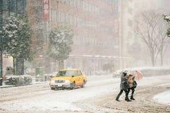 Tempesta della neve a Yokohama, Giappone Fotografia Stock