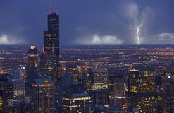 Tempesta di Chicago dell'orizzonte Immagine Stock Libera da Diritti