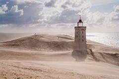 Tempesta di sabbia al faro Fotografie Stock