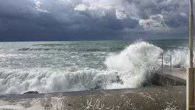 Tempesta nel mar Mediterraneo stock footage